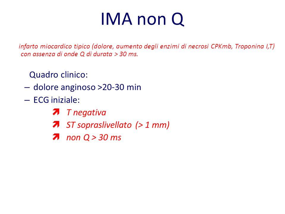 IMA non Q Quadro clinico: dolore anginoso >20-30 min ECG iniziale: