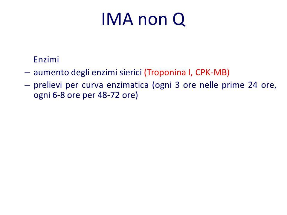 IMA non Q Enzimi aumento degli enzimi sierici (Troponina I, CPK-MB)