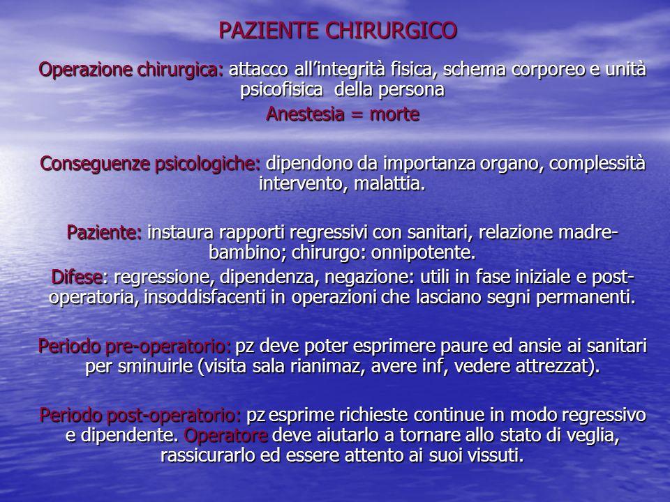 PAZIENTE CHIRURGICO Operazione chirurgica: attacco all'integrità fisica, schema corporeo e unità psicofisica della persona.