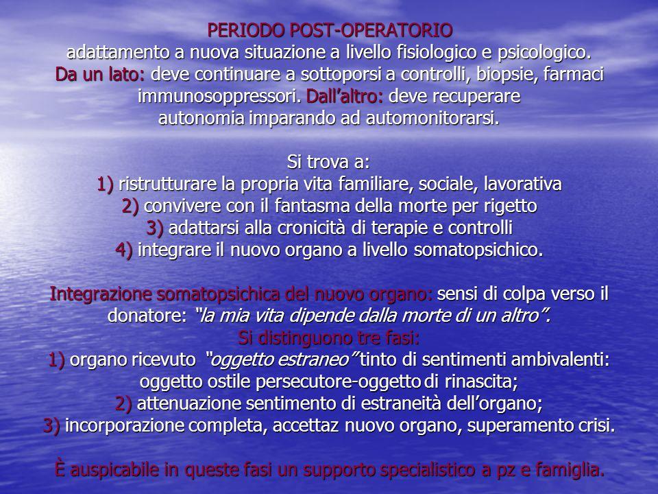 PERIODO POST-OPERATORIO adattamento a nuova situazione a livello fisiologico e psicologico.
