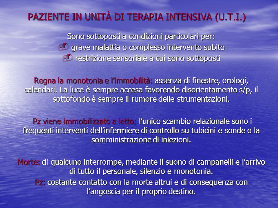 PAZIENTE IN UNITÀ DI TERAPIA INTENSIVA (U.T.I.)