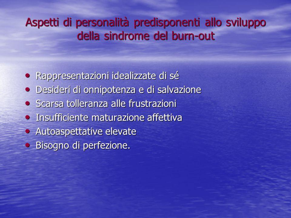 Aspetti di personalità predisponenti allo sviluppo della sindrome del burn-out