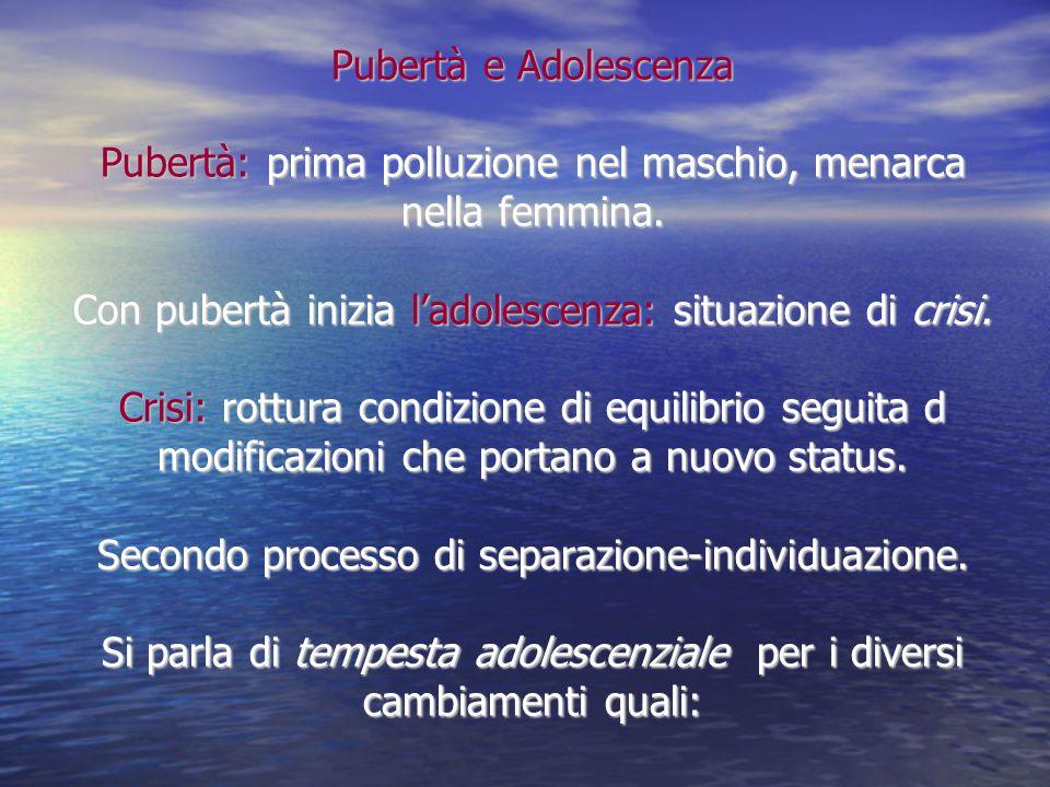 Pubertà e Adolescenza Pubertà: prima polluzione nel maschio, menarca nella femmina.