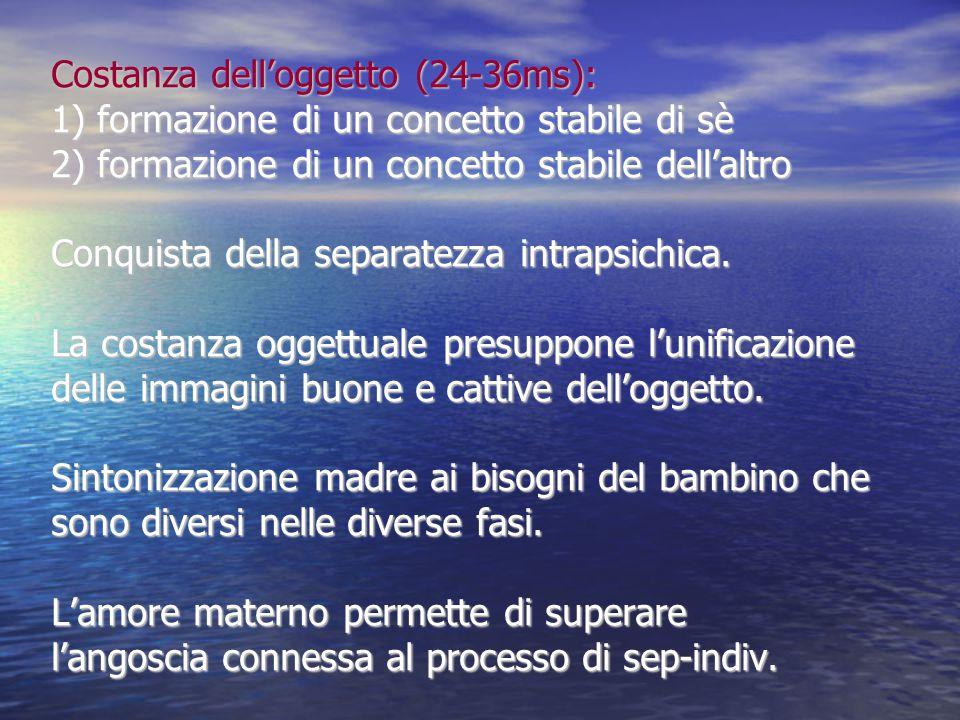 Costanza dell'oggetto (24-36ms): 1) formazione di un concetto stabile di sè 2) formazione di un concetto stabile dell'altro Conquista della separatezza intrapsichica.