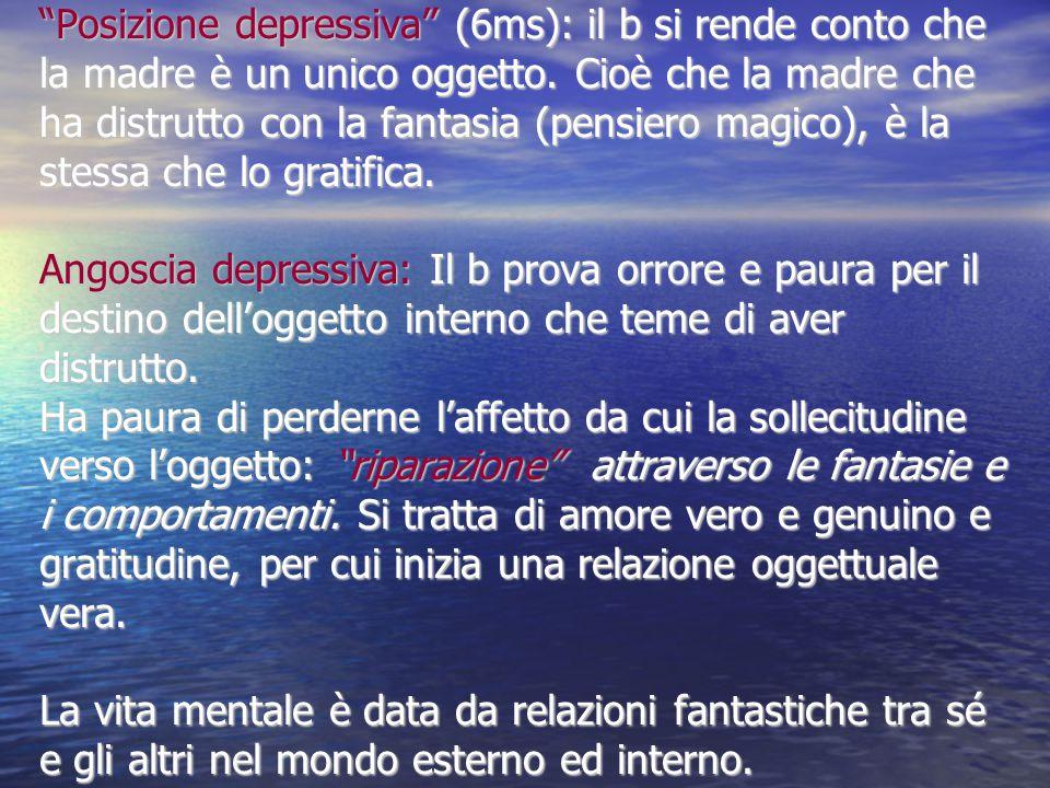 Posizione depressiva (6ms): il b si rende conto che la madre è un unico oggetto.