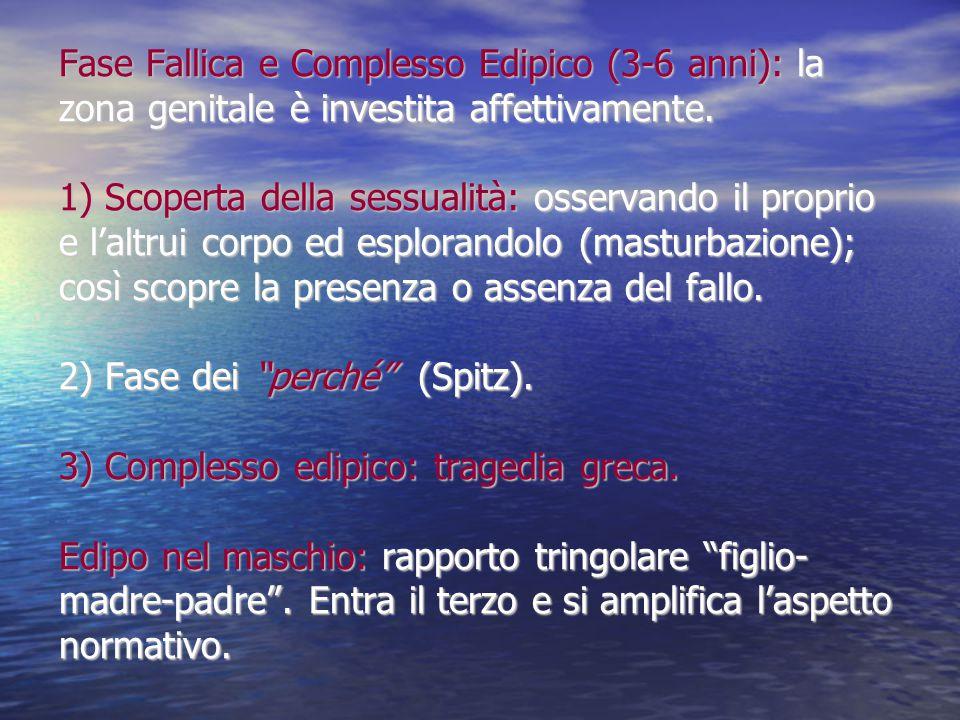 Fase Fallica e Complesso Edipico (3-6 anni): la zona genitale è investita affettivamente.