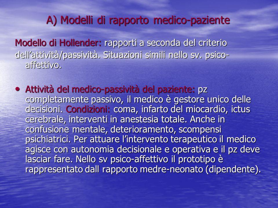 A) Modelli di rapporto medico-paziente
