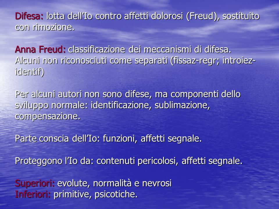 Difesa: lotta dell'Io contro affetti dolorosi (Freud), sostituito con rimozione.