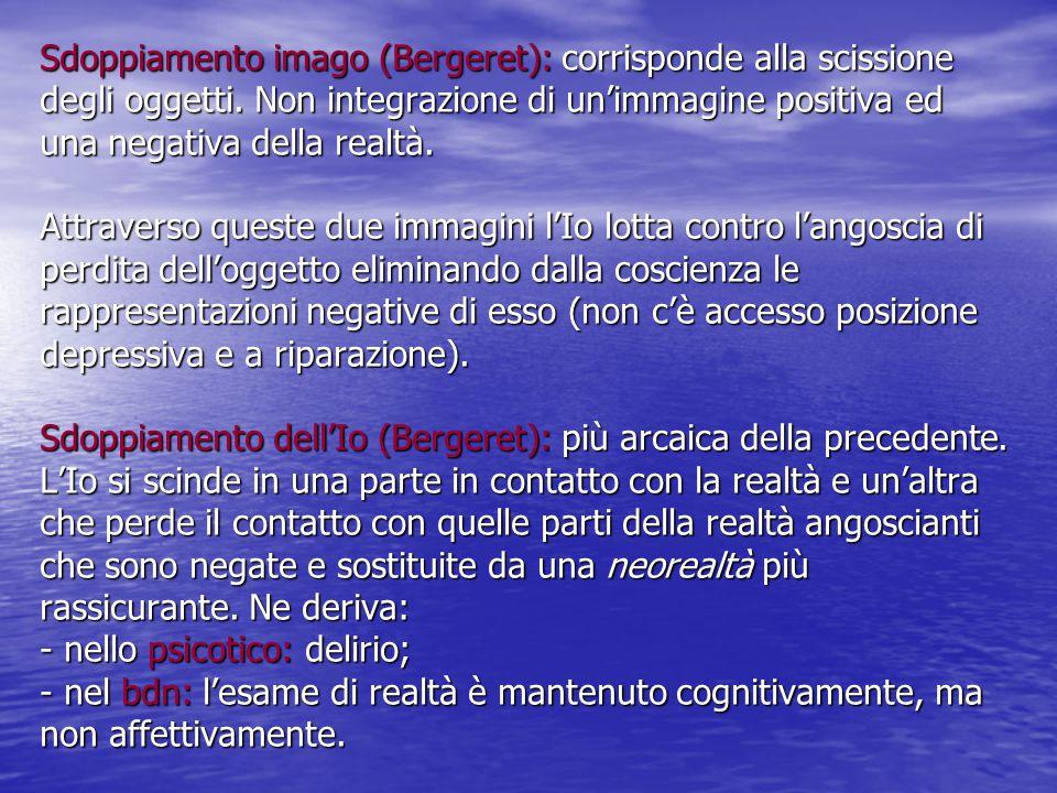 Sdoppiamento imago (Bergeret): corrisponde alla scissione degli oggetti.
