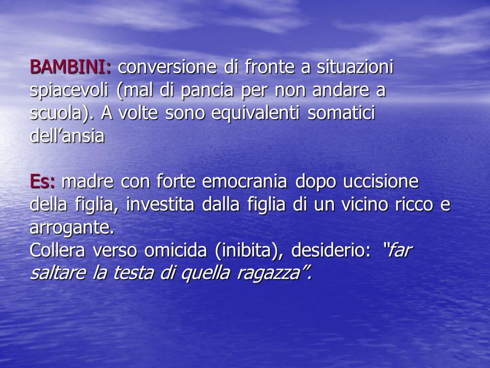 BAMBINI: conversione di fronte a situazioni spiacevoli (mal di pancia per non andare a scuola).