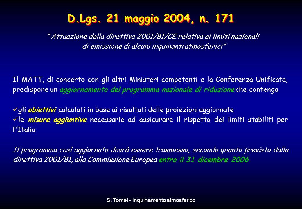 D.Lgs. 21 maggio 2004, n. 171 Attuazione della direttiva 2001/81/CE relativa ai limiti nazionali. di emissione di alcuni inquinanti atmosferici