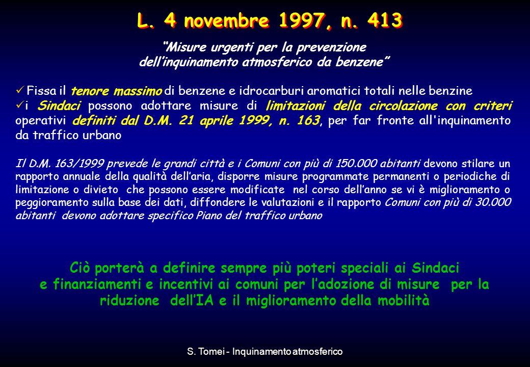 L. 4 novembre 1997, n. 413 Misure urgenti per la prevenzione. dell'inquinamento atmosferico da benzene