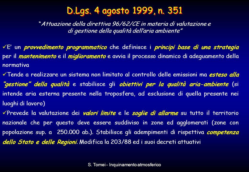 D.Lgs. 4 agosto 1999, n. 351 Attuazione della direttiva 96/62/CE in materia di valutazione e. di gestione della qualità dell'aria ambiente