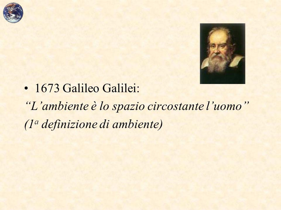 1673 Galileo Galilei: L'ambiente è lo spazio circostante l'uomo (1a definizione di ambiente)