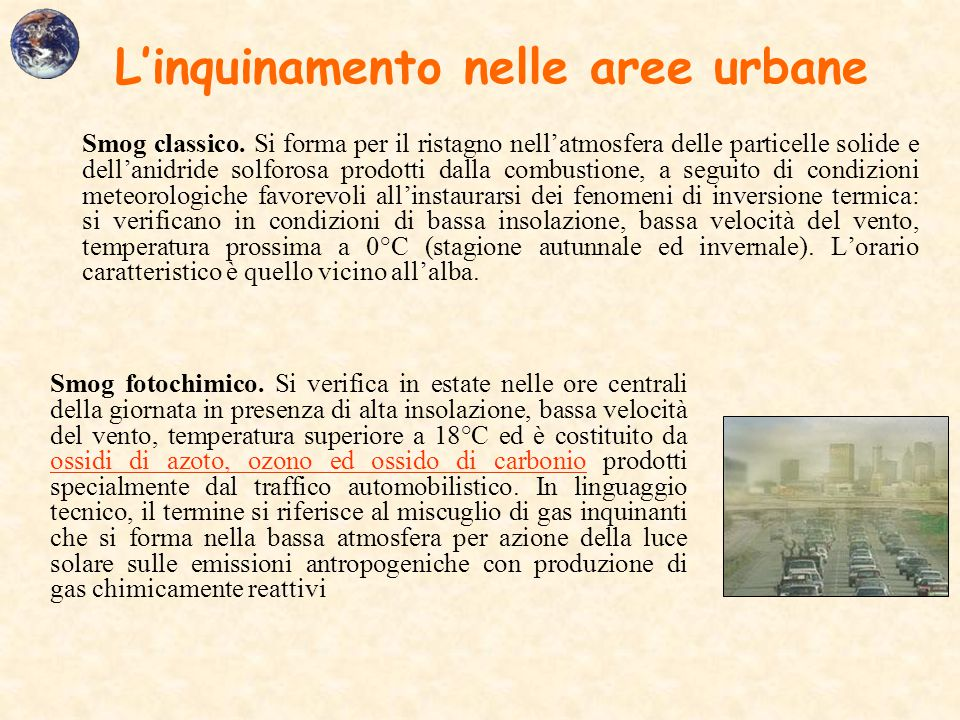 L'inquinamento nelle aree urbane