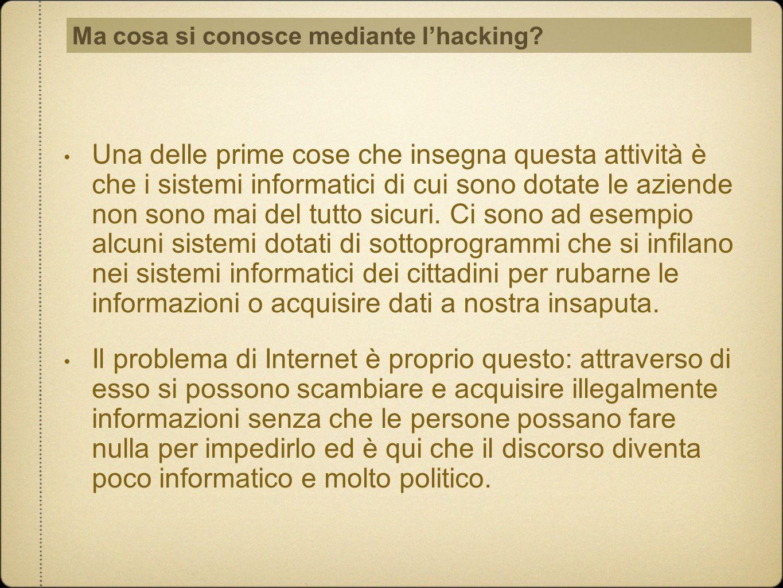 Ma cosa si conosce mediante l'hacking