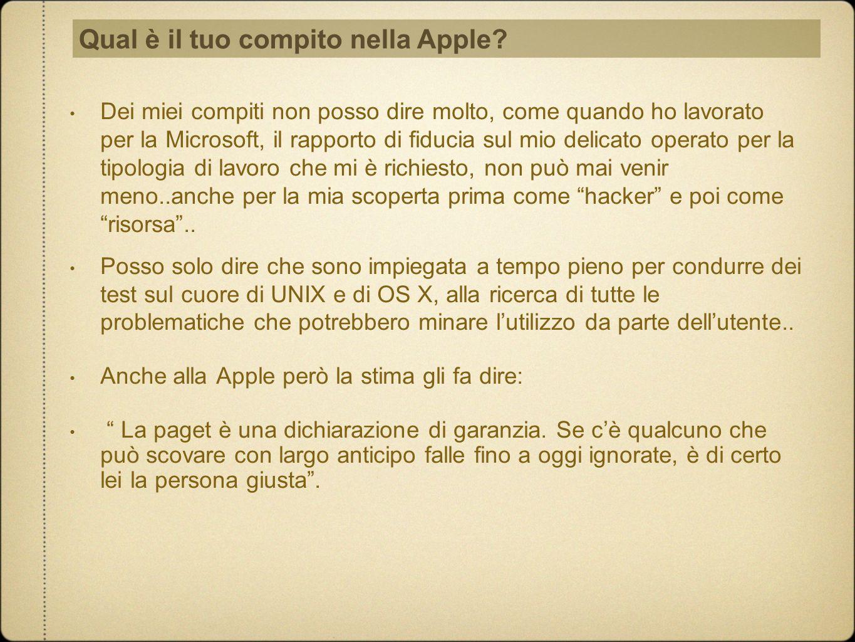 Qual è il tuo compito nella Apple
