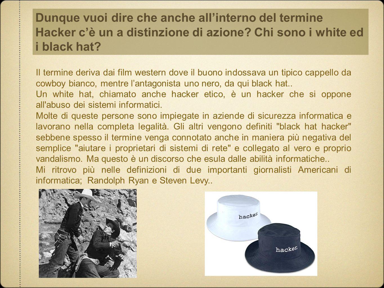 Dunque vuoi dire che anche all'interno del termine Hacker c'è un a distinzione di azione Chi sono i white ed i black hat