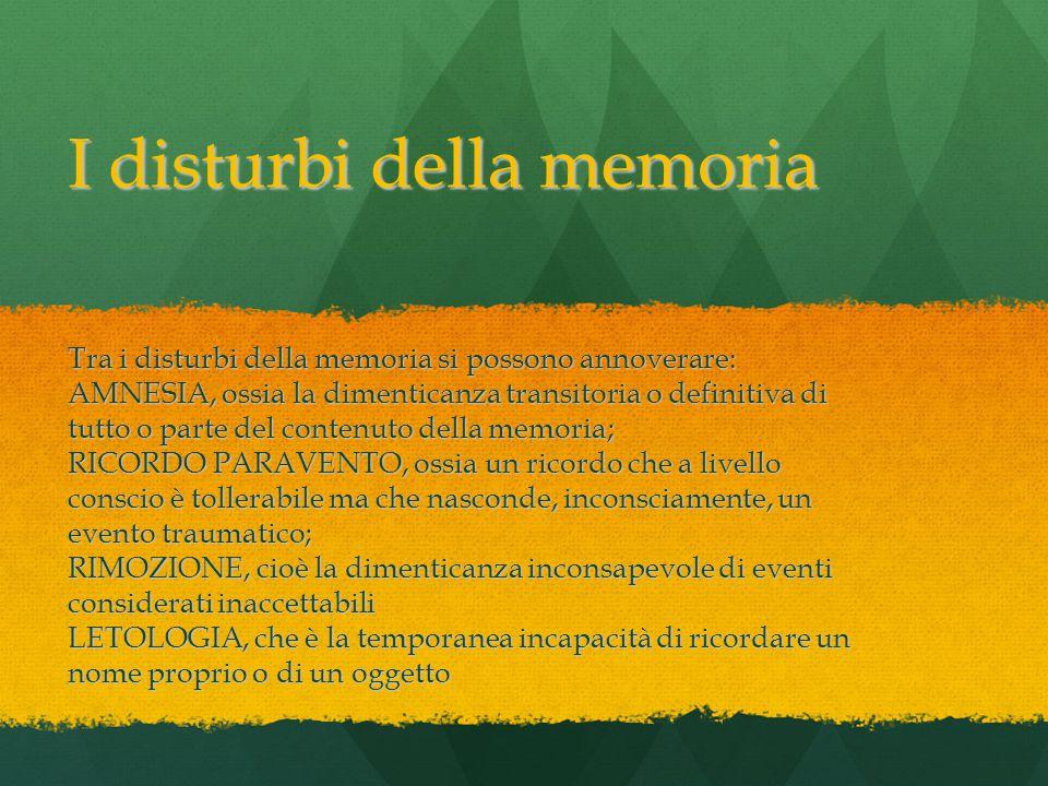 I disturbi della memoria