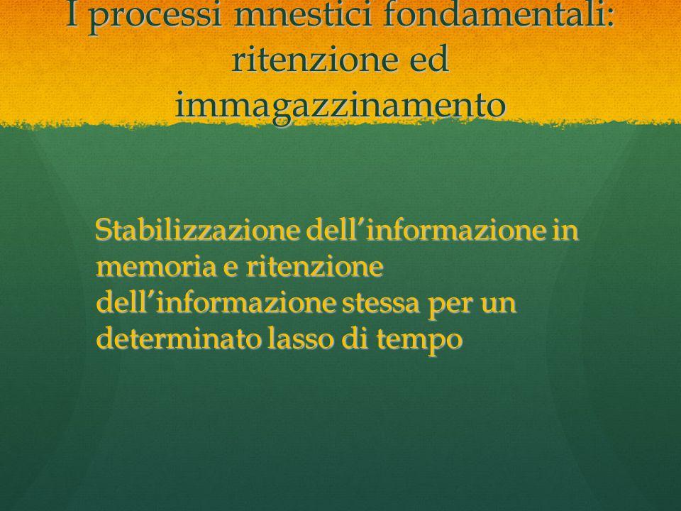 I processi mnestici fondamentali: ritenzione ed immagazzinamento
