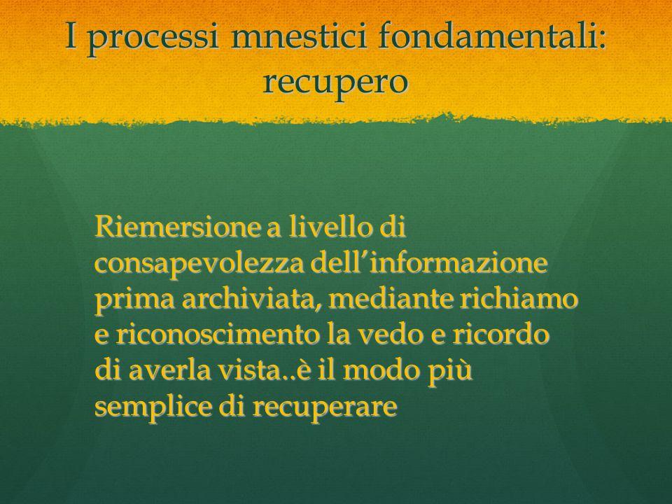 I processi mnestici fondamentali: recupero