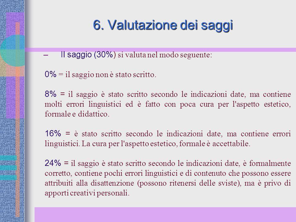6. Valutazione dei saggi Il saggio (30%) si valuta nel modo seguente: