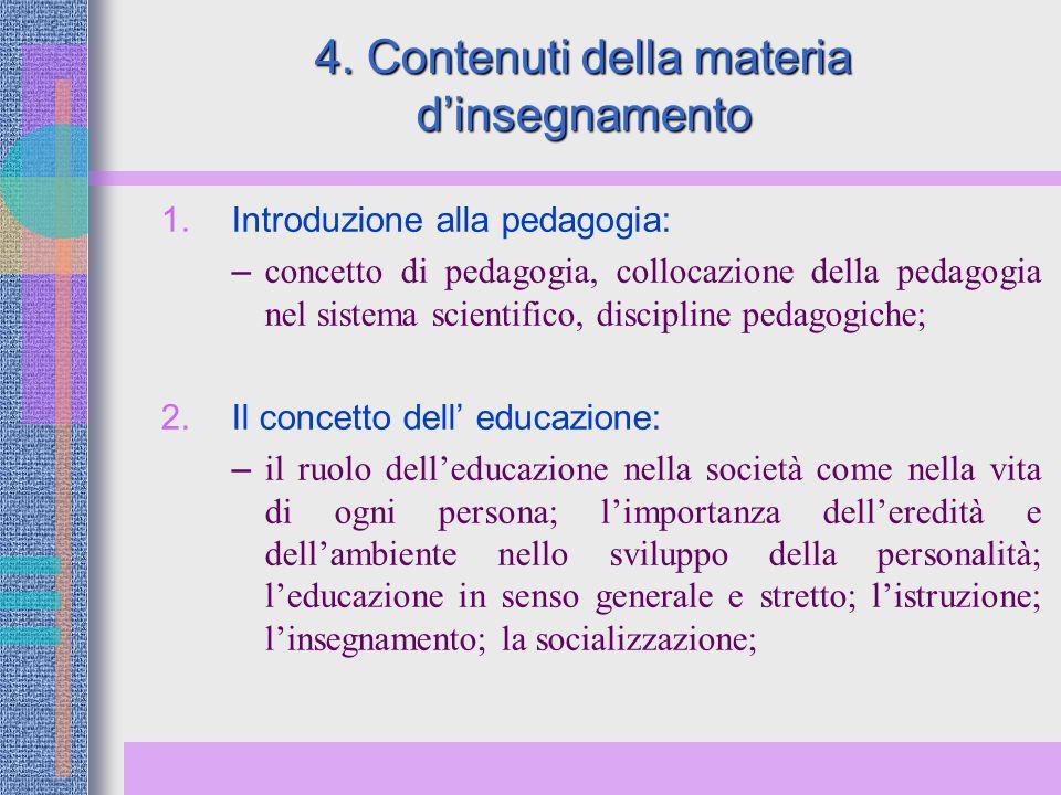 4. Contenuti della materia d'insegnamento