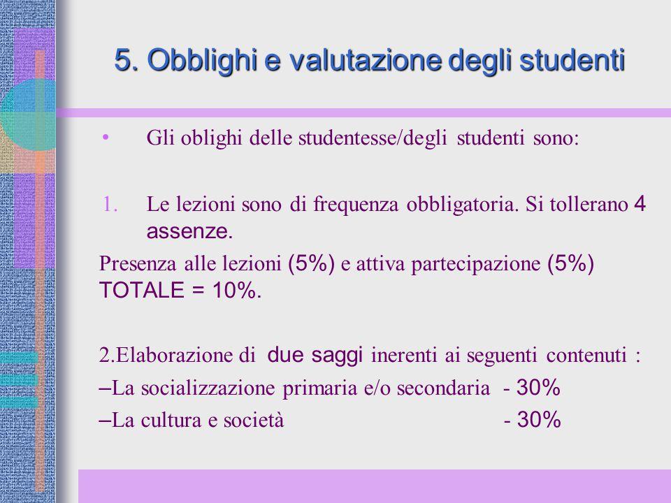 5. Obblighi e valutazione degli studenti