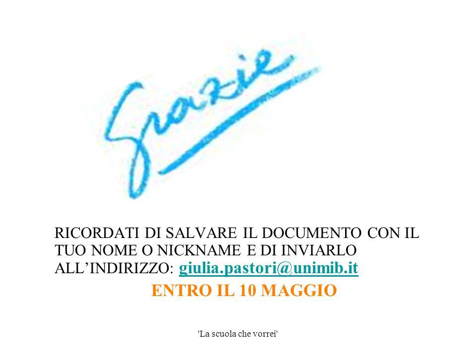 RICORDATI DI SALVARE IL DOCUMENTO CON IL TUO NOME O NICKNAME E DI INVIARLO ALL'INDIRIZZO: giulia.pastori@unimib.it