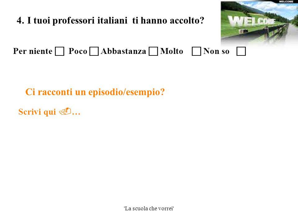 4. I tuoi professori italiani ti hanno accolto