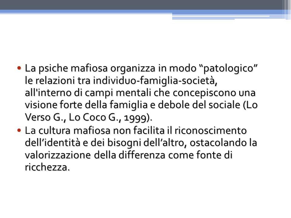 La psiche mafiosa organizza in modo patologico le relazioni tra individuo-famiglia-società, all interno di campi mentali che concepiscono una visione forte della famiglia e debole del sociale (Lo Verso G., Lo Coco G., 1999).