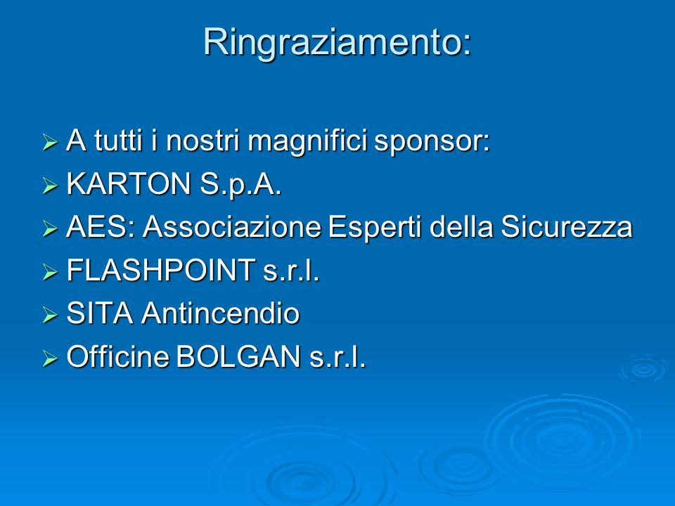Ringraziamento: A tutti i nostri magnifici sponsor: KARTON S.p.A.
