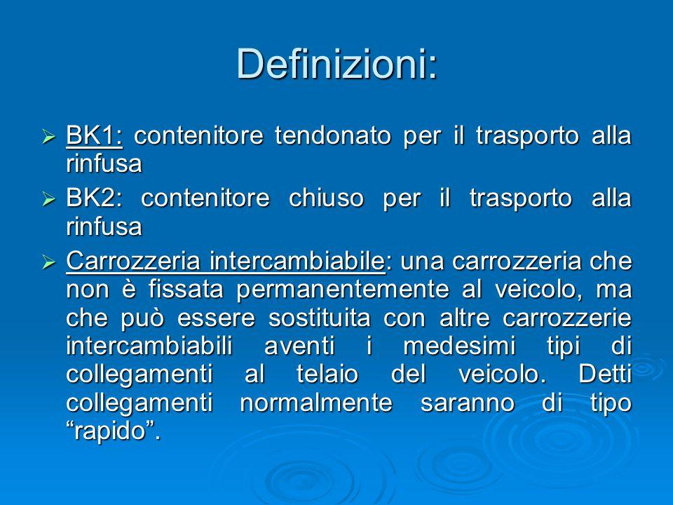 Definizioni: BK1: contenitore tendonato per il trasporto alla rinfusa