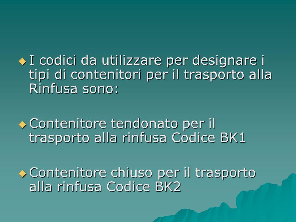 I codici da utilizzare per designare i tipi di contenitori per il trasporto alla Rinfusa sono: