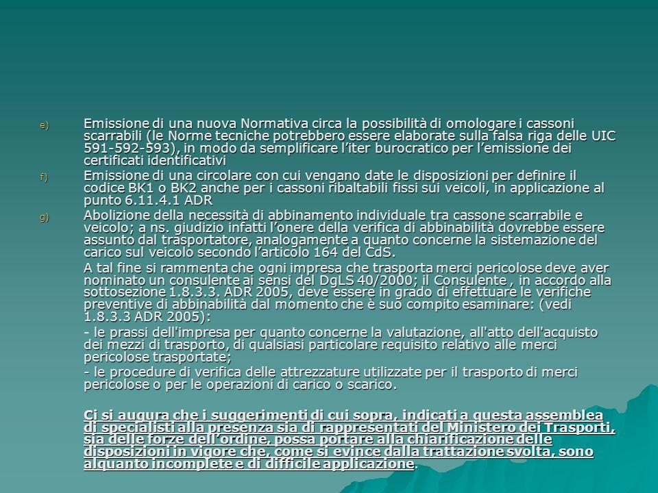 Emissione di una nuova Normativa circa la possibilità di omologare i cassoni scarrabili (le Norme tecniche potrebbero essere elaborate sulla falsa riga delle UIC 591-592-593), in modo da semplificare l'iter burocratico per l'emissione dei certificati identificativi