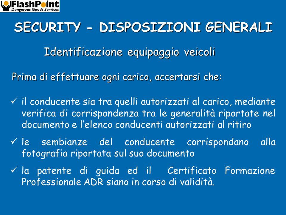 SECURITY - DISPOSIZIONI GENERALI