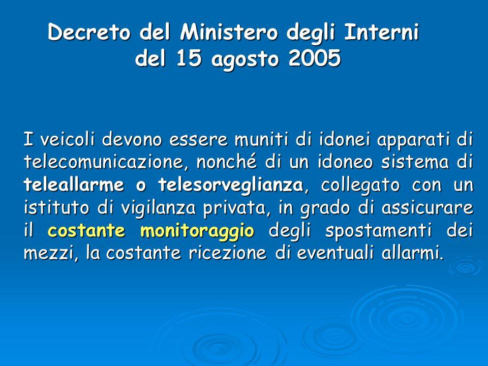 Decreto del Ministero degli Interni del 15 agosto 2005