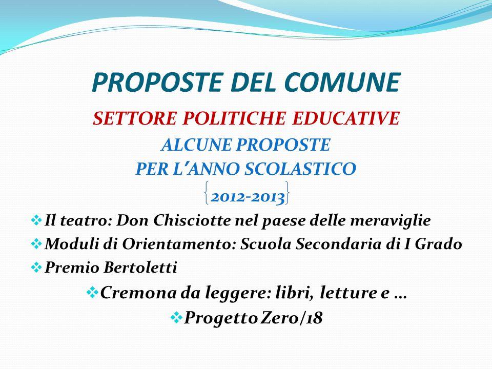 SETTORE POLITICHE EDUCATIVE Cremona da leggere: libri, letture e …
