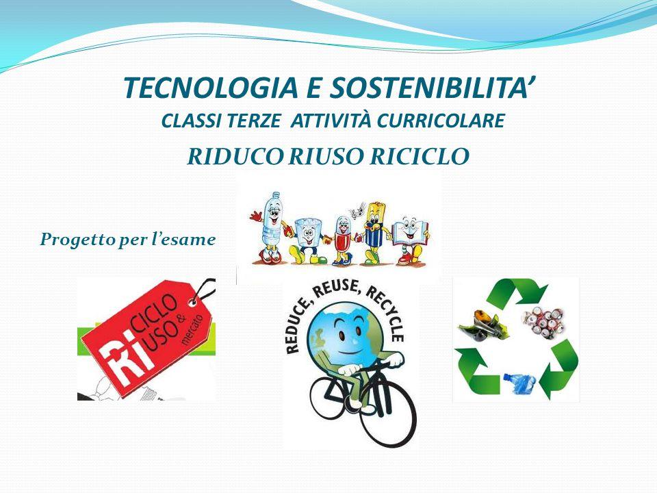 TECNOLOGIA E SOSTENIBILITA' CLASSI TERZE ATTIVITÀ CURRICOLARE