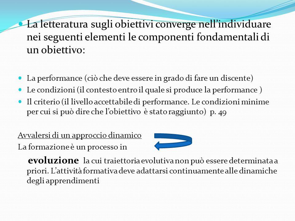 La letteratura sugli obiettivi converge nell'individuare nei seguenti elementi le componenti fondamentali di un obiettivo: