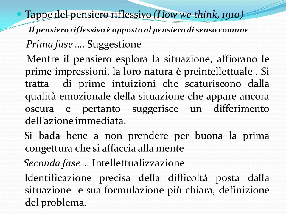 Tappe del pensiero riflessivo (How we think, 1910)