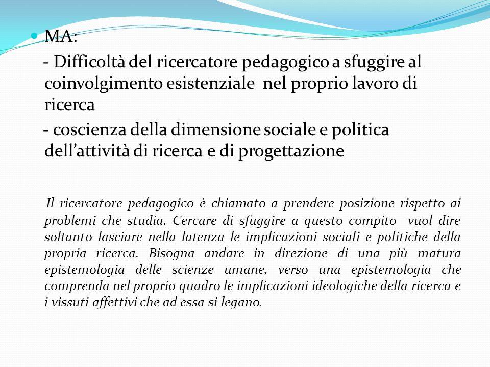 MA: - Difficoltà del ricercatore pedagogico a sfuggire al coinvolgimento esistenziale nel proprio lavoro di ricerca.