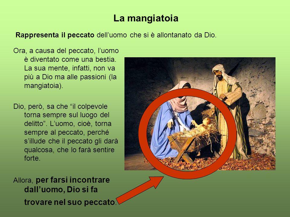 La mangiatoia Rappresenta il peccato dell'uomo che si è allontanato da Dio.