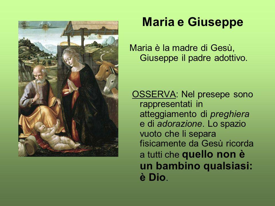Maria e Giuseppe Maria è la madre di Gesù, Giuseppe il padre adottivo.