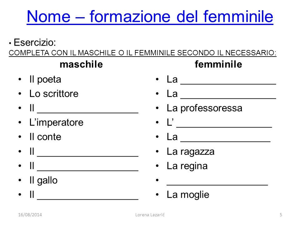 Nome – formazione del femminile