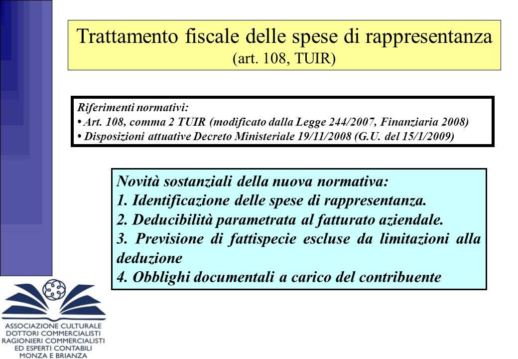 Trattamento fiscale delle spese di rappresentanza (art. 108, TUIR)