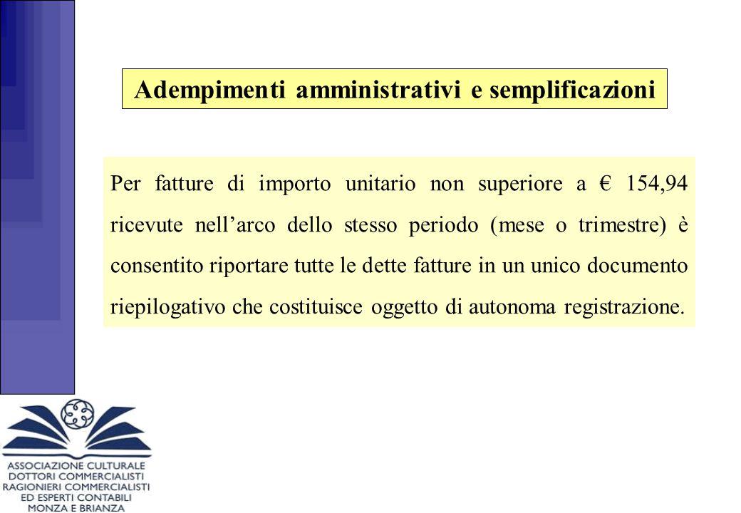 Adempimenti amministrativi e semplificazioni