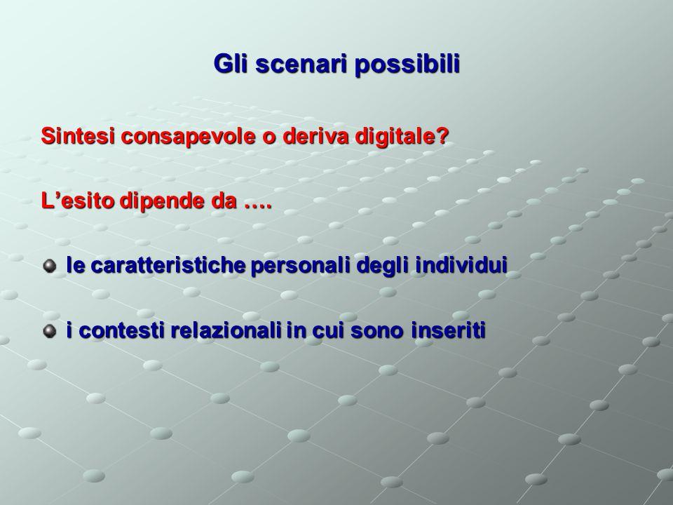 Gli scenari possibili Sintesi consapevole o deriva digitale