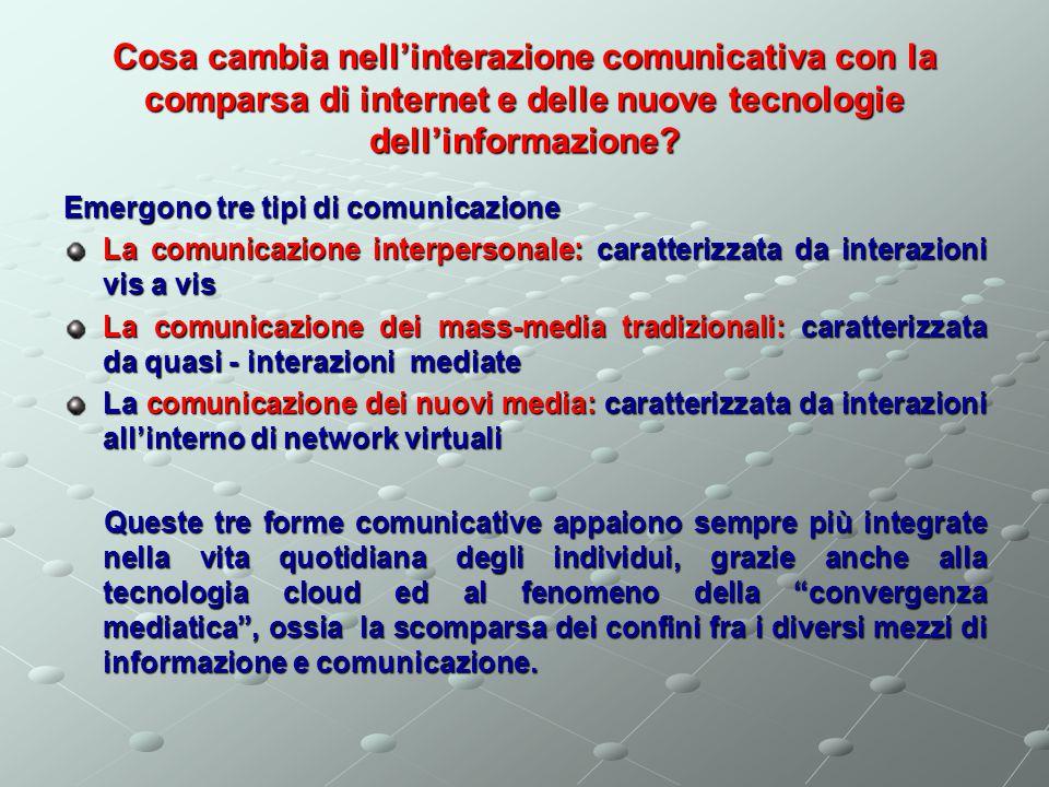 Cosa cambia nell'interazione comunicativa con la comparsa di internet e delle nuove tecnologie dell'informazione