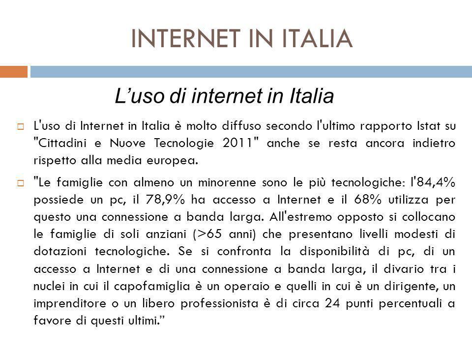 INTERNET IN ITALIA L'uso di internet in Italia